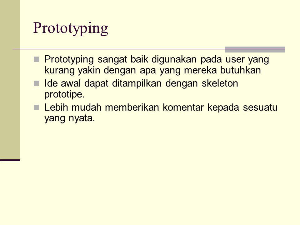 Prototyping Prototyping sangat baik digunakan pada user yang kurang yakin dengan apa yang mereka butuhkan Ide awal dapat ditampilkan dengan skeleton p