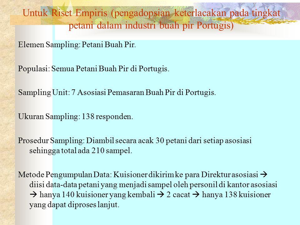 Untuk Riset Empiris (pengadopsian keterlacakan pada tingkat petani dalam industri buah pir Portugis) Elemen Sampling: Petani Buah Pir.