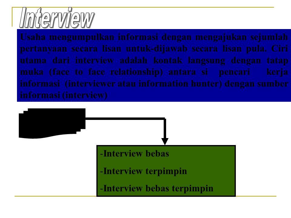 Usaha mengumpulkan informasi dengan mengajukan sejumlah pertanyaan secara lisan untuk-dijawab secara lisan pula. Ciri utama dari interview adalah kont
