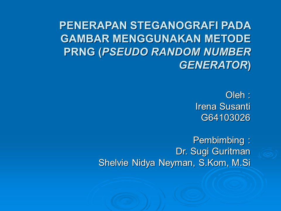 PENERAPAN STEGANOGRAFI PADA GAMBAR MENGGUNAKAN METODE PRNG (PSEUDO RANDOM NUMBER GENERATOR) Oleh : Irena Susanti G64103026 Pembimbing : Dr. Sugi Gurit