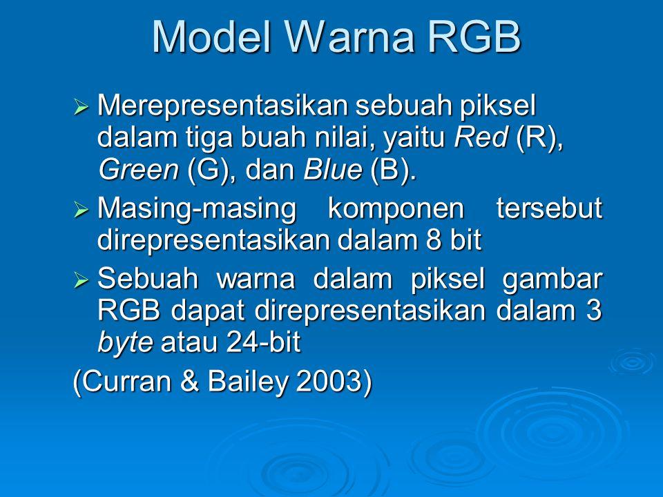 Model Warna RGB  Merepresentasikan sebuah piksel dalam tiga buah nilai, yaitu Red (R), Green (G), dan Blue (B).  Masing-masing komponen tersebut dir