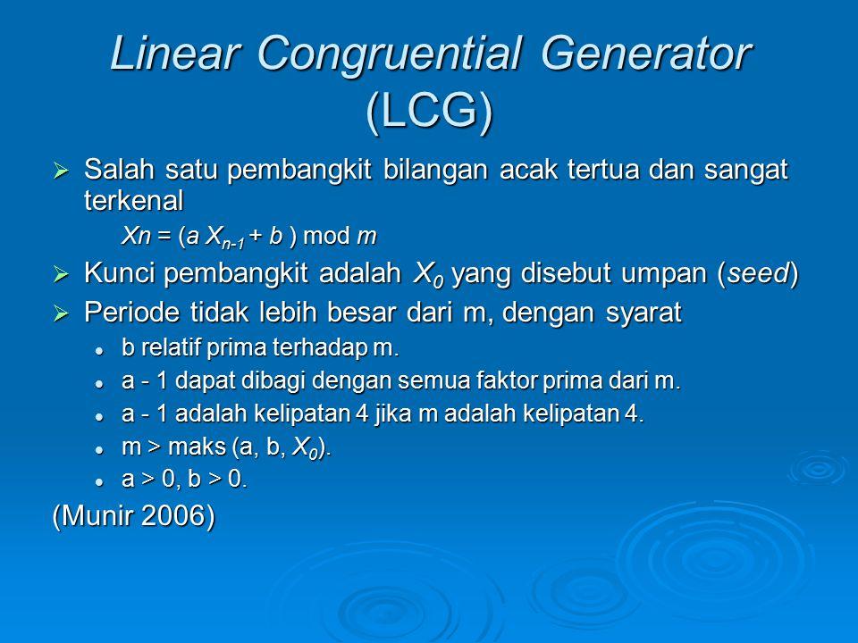 Linear Congruential Generator (LCG)  Salah satu pembangkit bilangan acak tertua dan sangat terkenal Xn = (a X n-1 + b ) mod m  Kunci pembangkit adal