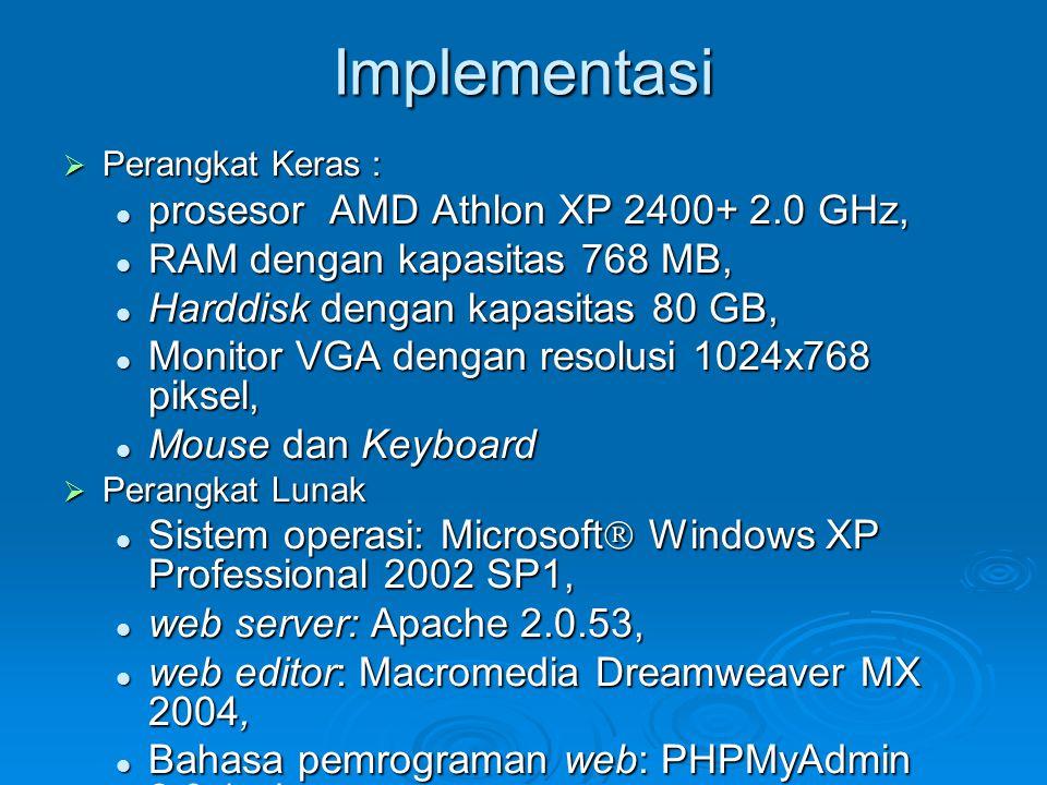 Implementasi  Perangkat Keras : prosesor AMD Athlon XP 2400+ 2.0 GHz, prosesor AMD Athlon XP 2400+ 2.0 GHz, RAM dengan kapasitas 768 MB, RAM dengan k
