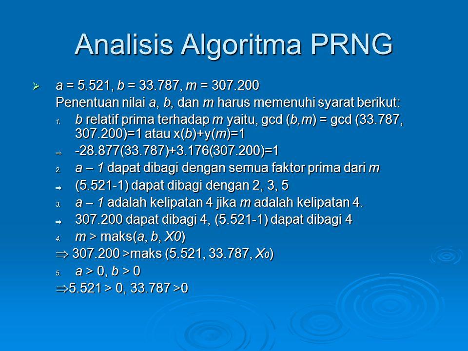 Analisis Algoritma PRNG  a = 5.521, b = 33.787, m = 307.200 Penentuan nilai a, b, dan m harus memenuhi syarat berikut: 1. b relatif prima terhadap m