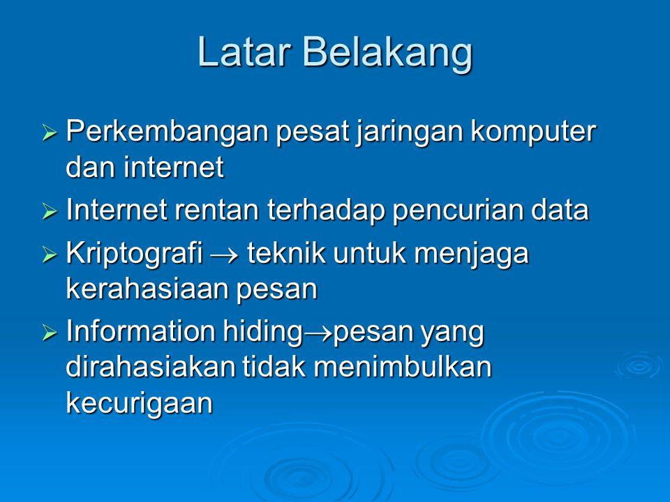 Latar Belakang  Perkembangan pesat jaringan komputer dan internet  Internet rentan terhadap pencurian data  Kriptografi  teknik untuk menjaga kera
