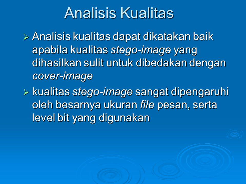 Analisis Kualitas  Analisis kualitas dapat dikatakan baik apabila kualitas stego-image yang dihasilkan sulit untuk dibedakan dengan cover-image  kua