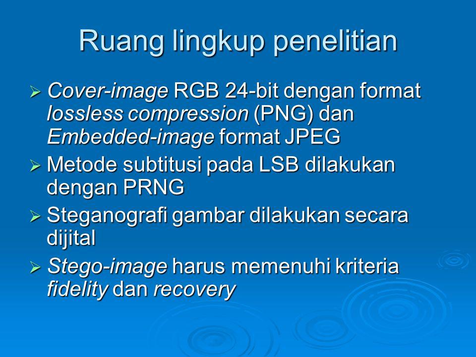 Ruang lingkup penelitian  Cover-image RGB 24-bit dengan format lossless compression (PNG) dan Embedded-image format JPEG  Metode subtitusi pada LSB
