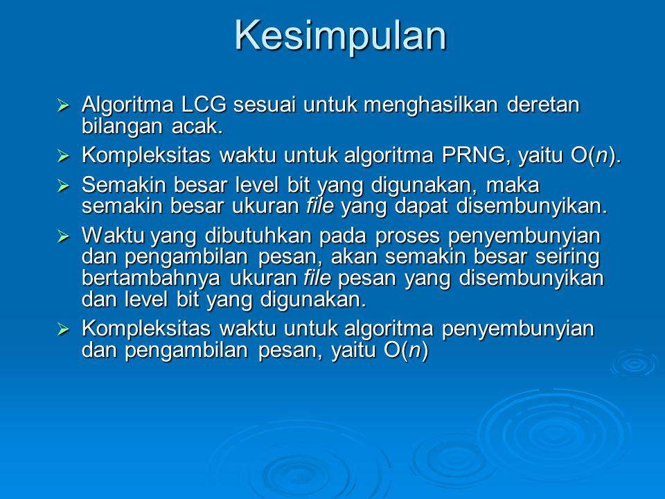 Kesimpulan  Algoritma LCG sesuai untuk menghasilkan deretan bilangan acak.  Kompleksitas waktu untuk algoritma PRNG, yaitu O(n).  Semakin besar lev