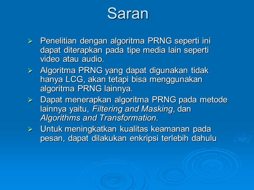 Saran  Penelitian dengan algoritma PRNG seperti ini dapat diterapkan pada tipe media lain seperti video atau audio.  Algoritma PRNG yang dapat digun
