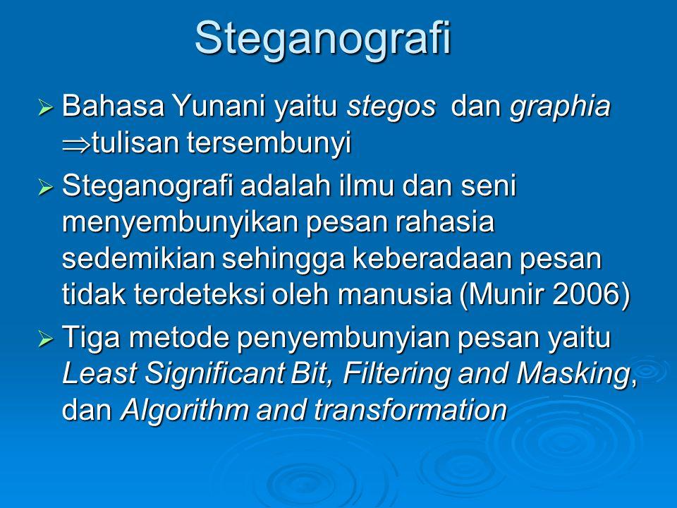 Steganografi  Bahasa Yunani yaitu stegos dan graphia  tulisan tersembunyi  Steganografi adalah ilmu dan seni menyembunyikan pesan rahasia sedemikia