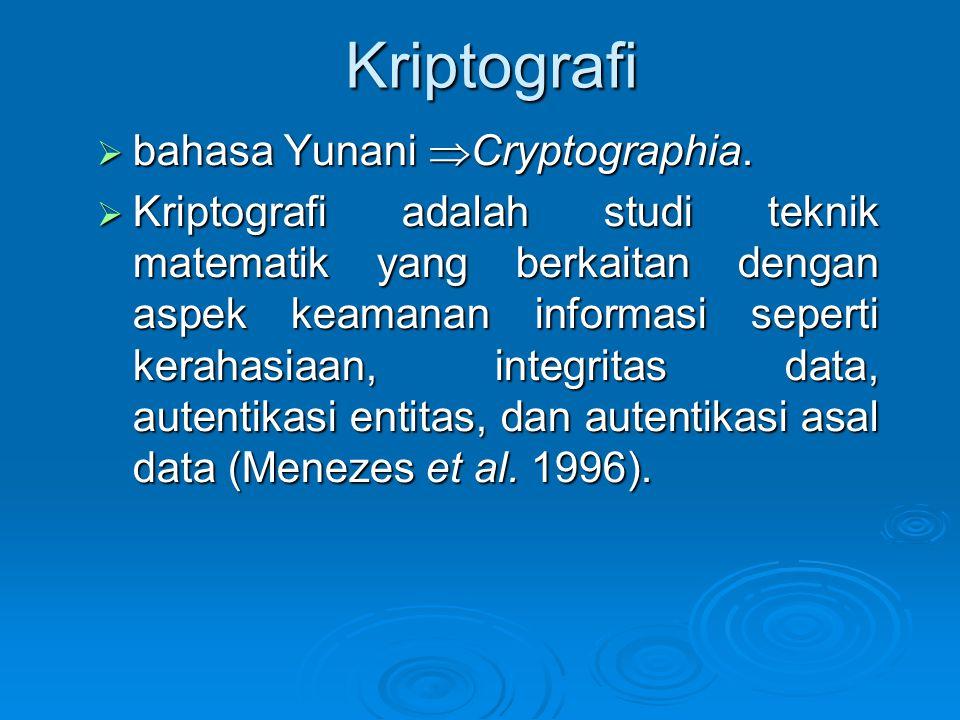 Kriptografi  bahasa Yunani  Cryptographia.  Kriptografi adalah studi teknik matematik yang berkaitan dengan aspek keamanan informasi seperti keraha