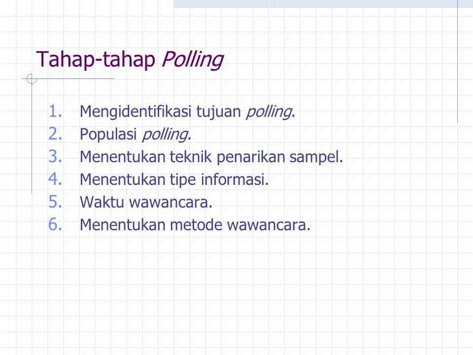 Tahap-tahap Polling 1. Mengidentifikasi tujuan polling. 2. Populasi polling. 3. Menentukan teknik penarikan sampel. 4. Menentukan tipe informasi. 5. W