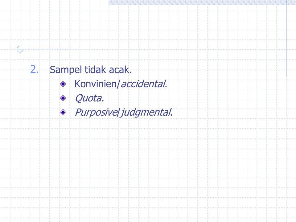 2. Sampel tidak acak. Konvinien/accidental. Quota. Purposive/judgmental.