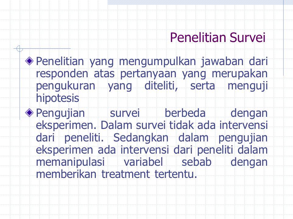 Penelitian Survei Penelitian yang mengumpulkan jawaban dari responden atas pertanyaan yang merupakan pengukuran yang diteliti, serta menguji hipotesis Pengujian survei berbeda dengan eksperimen.