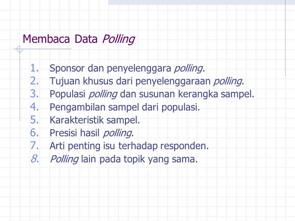 Membaca Data Polling 1. Sponsor dan penyelenggara polling. 2. Tujuan khusus dari penyelenggaraan polling. 3. Populasi polling dan susunan kerangka sam