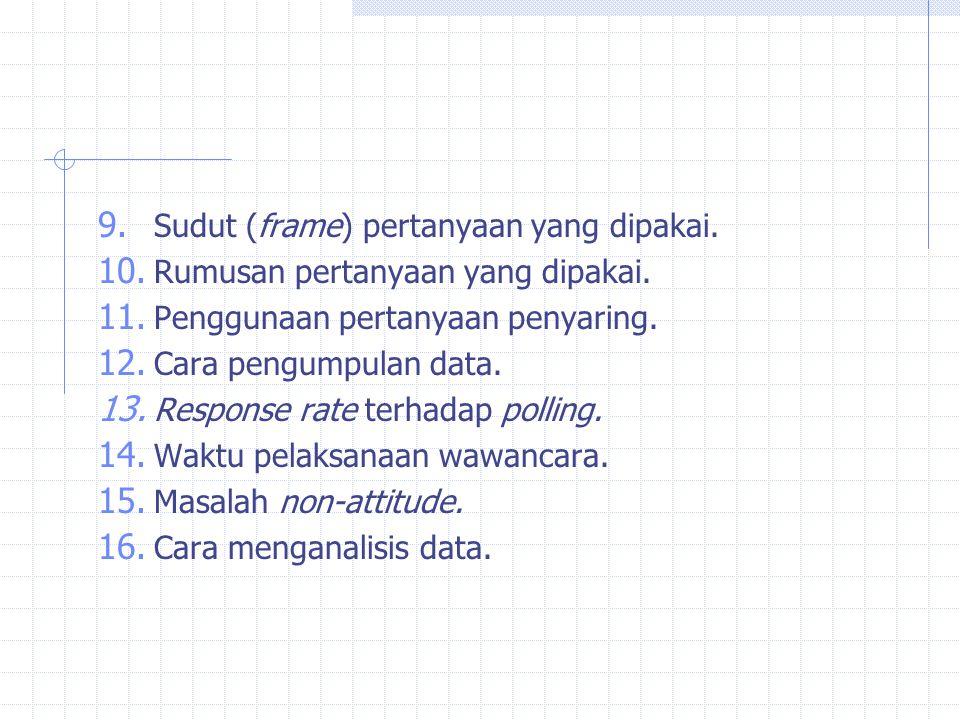 9. Sudut (frame) pertanyaan yang dipakai. 10. Rumusan pertanyaan yang dipakai. 11. Penggunaan pertanyaan penyaring. 12. Cara pengumpulan data. 13. Res