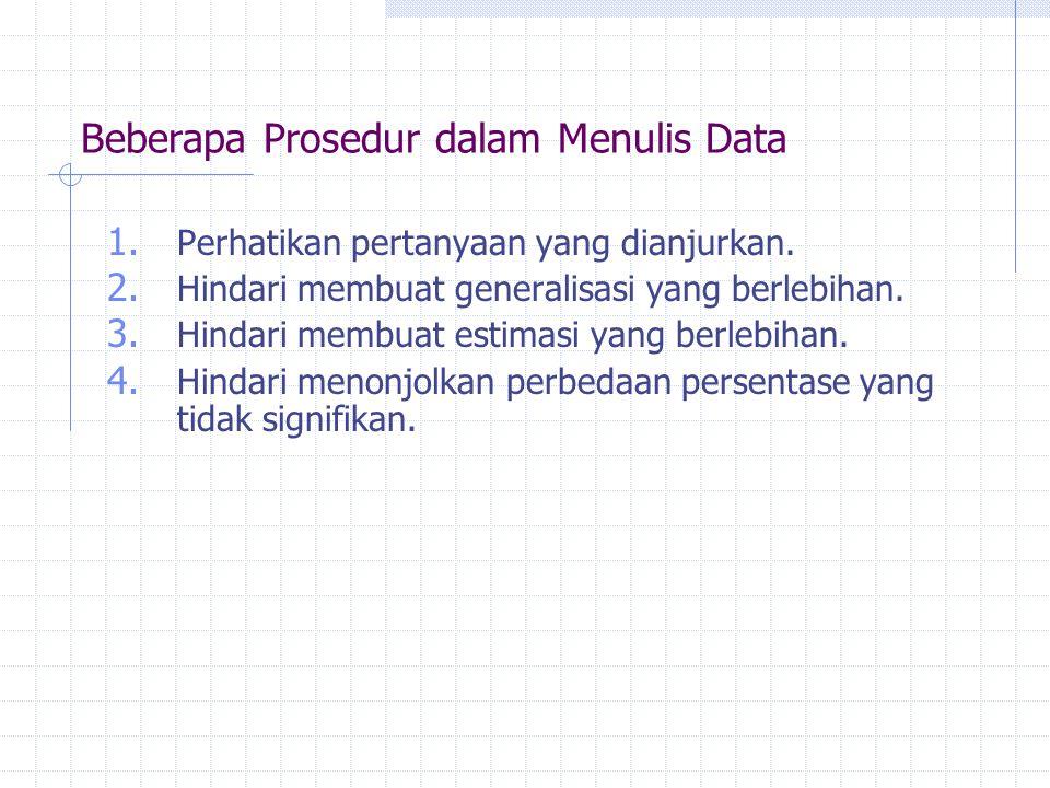 Beberapa Prosedur dalam Menulis Data 1. Perhatikan pertanyaan yang dianjurkan. 2. Hindari membuat generalisasi yang berlebihan. 3. Hindari membuat est