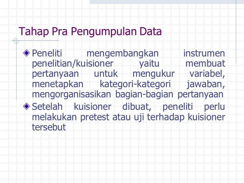 Tahap Pra Pengumpulan Data Peneliti mengembangkan instrumen penelitian/kuisioner yaitu membuat pertanyaan untuk mengukur variabel, menetapkan kategori-kategori jawaban, mengorganisasikan bagian-bagian pertanyaan Setelah kuisioner dibuat, peneliti perlu melakukan pretest atau uji terhadap kuisioner tersebut