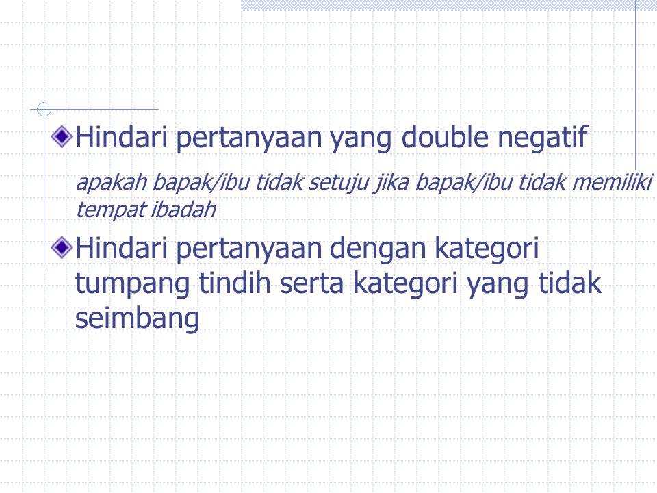Hindari pertanyaan yang double negatif apakah bapak/ibu tidak setuju jika bapak/ibu tidak memiliki tempat ibadah Hindari pertanyaan dengan kategori tumpang tindih serta kategori yang tidak seimbang