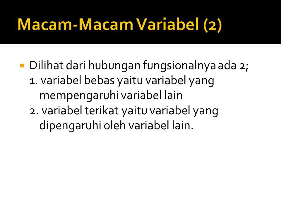  Dilihat dari hubungan fungsionalnya ada 2; 1. variabel bebas yaitu variabel yang mempengaruhi variabel lain 2. variabel terikat yaitu variabel yang