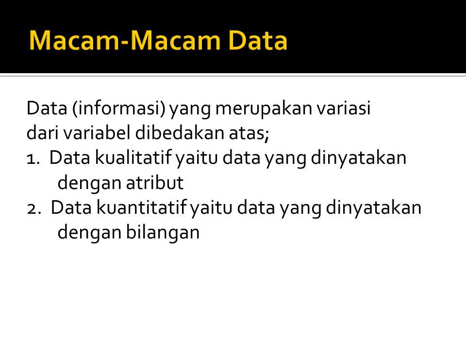 Data (informasi) yang merupakan variasi dari variabel dibedakan atas; 1. Data kualitatif yaitu data yang dinyatakan dengan atribut 2. Data kuantitatif