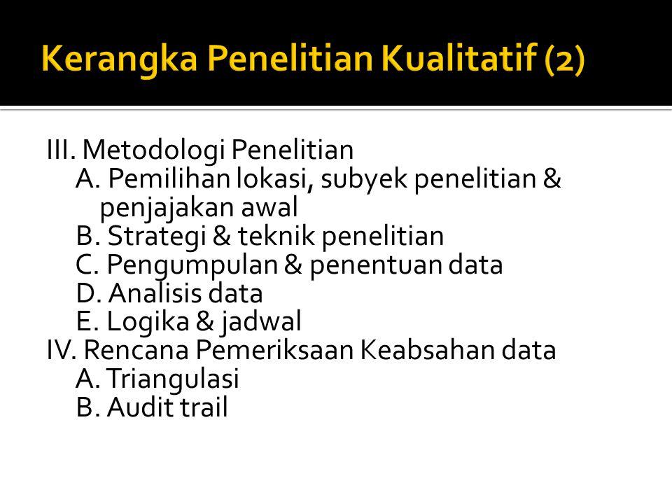 III. Metodologi Penelitian A. Pemilihan lokasi, subyek penelitian & penjajakan awal B. Strategi & teknik penelitian C. Pengumpulan & penentuan data D.