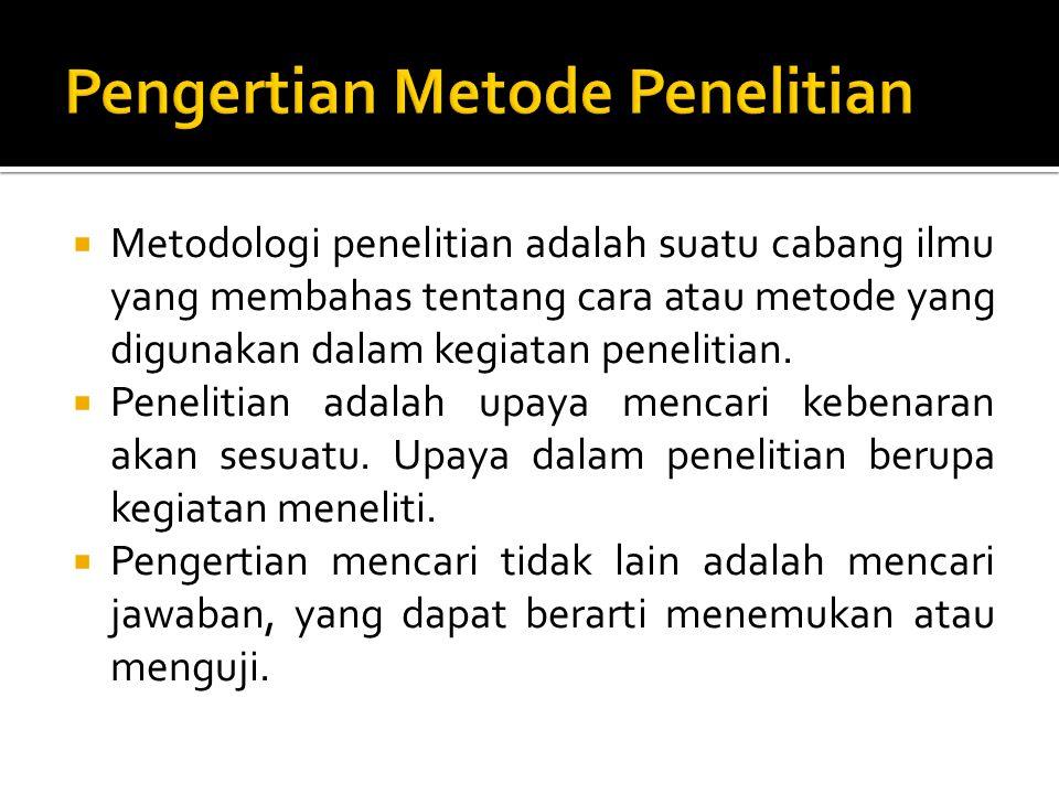  Metodologi penelitian adalah suatu cabang ilmu yang membahas tentang cara atau metode yang digunakan dalam kegiatan penelitian.  Penelitian adalah