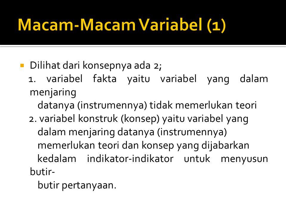  Dilihat dari konsepnya ada 2; 1. variabel fakta yaitu variabel yang dalam menjaring datanya (instrumennya) tidak memerlukan teori 2. variabel konstr
