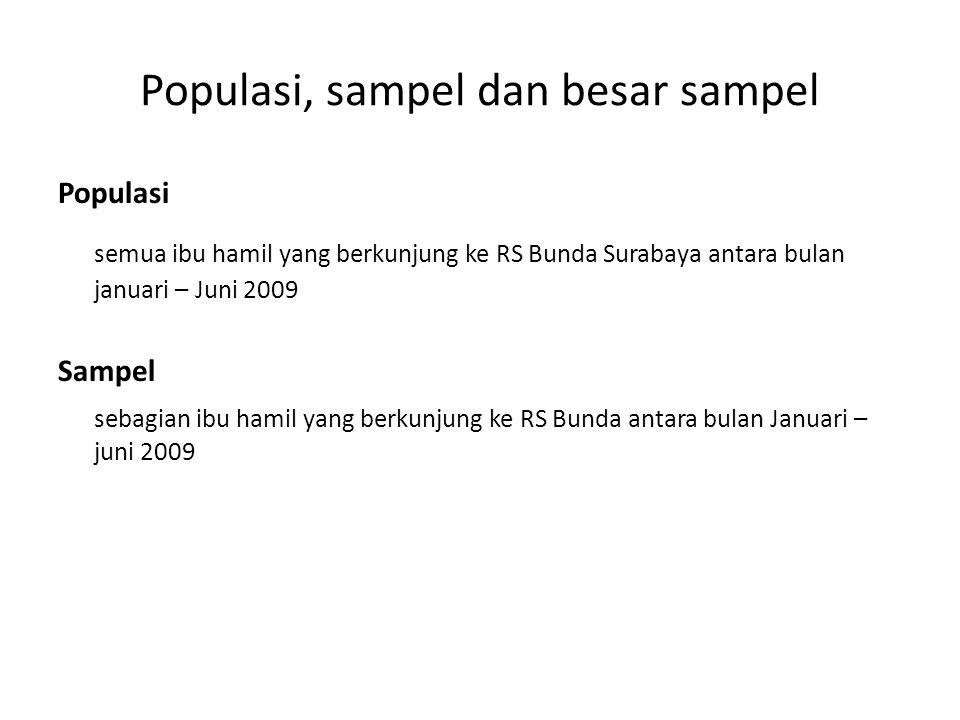 Populasi, sampel dan besar sampel Populasi semua ibu hamil yang berkunjung ke RS Bunda Surabaya antara bulan januari – Juni 2009 Sampel sebagian ibu hamil yang berkunjung ke RS Bunda antara bulan Januari – juni 2009