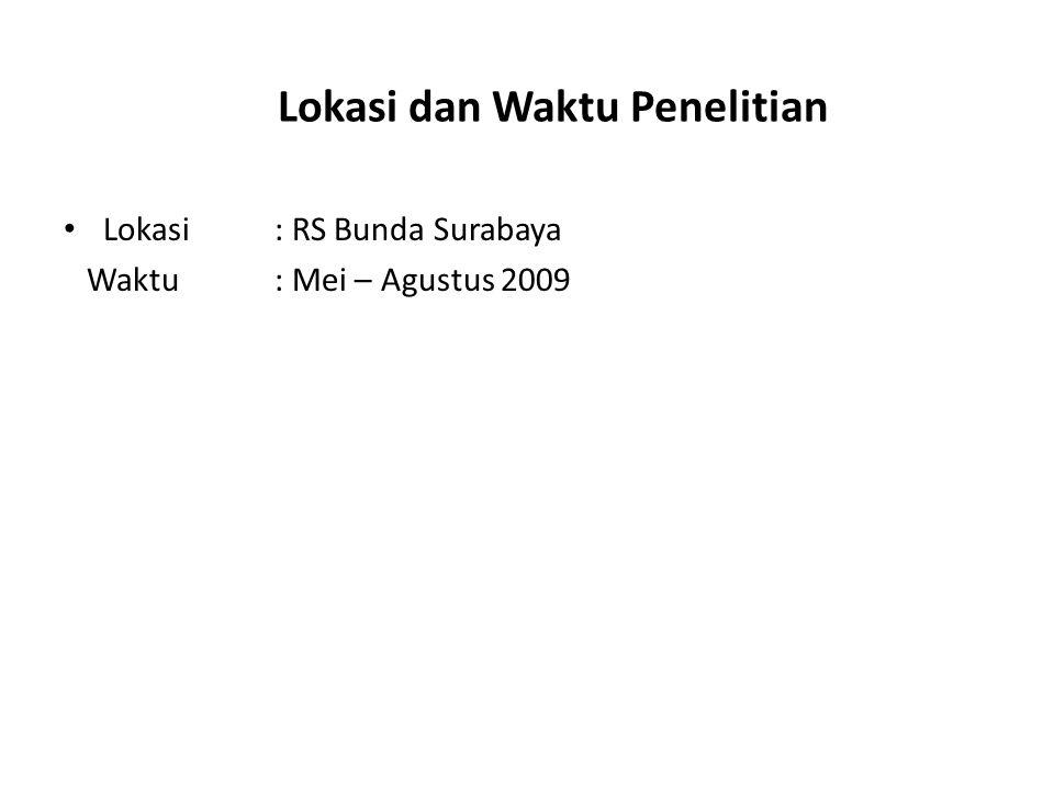 Lokasi dan Waktu Penelitian Lokasi: RS Bunda Surabaya Waktu : Mei – Agustus 2009