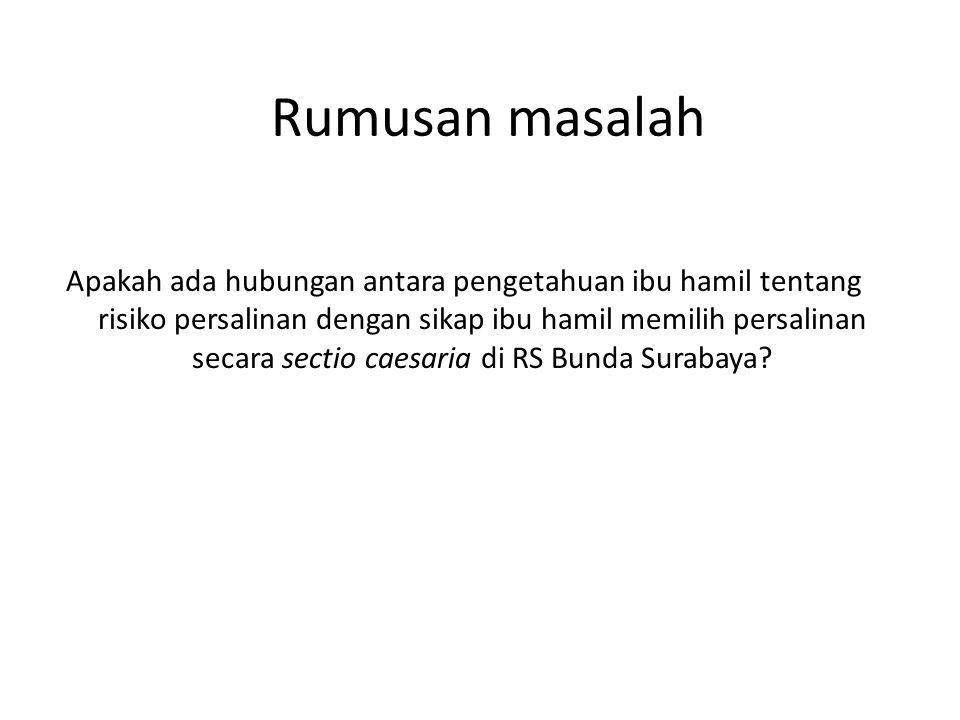 Rumusan masalah Apakah ada hubungan antara pengetahuan ibu hamil tentang risiko persalinan dengan sikap ibu hamil memilih persalinan secara sectio caesaria di RS Bunda Surabaya?