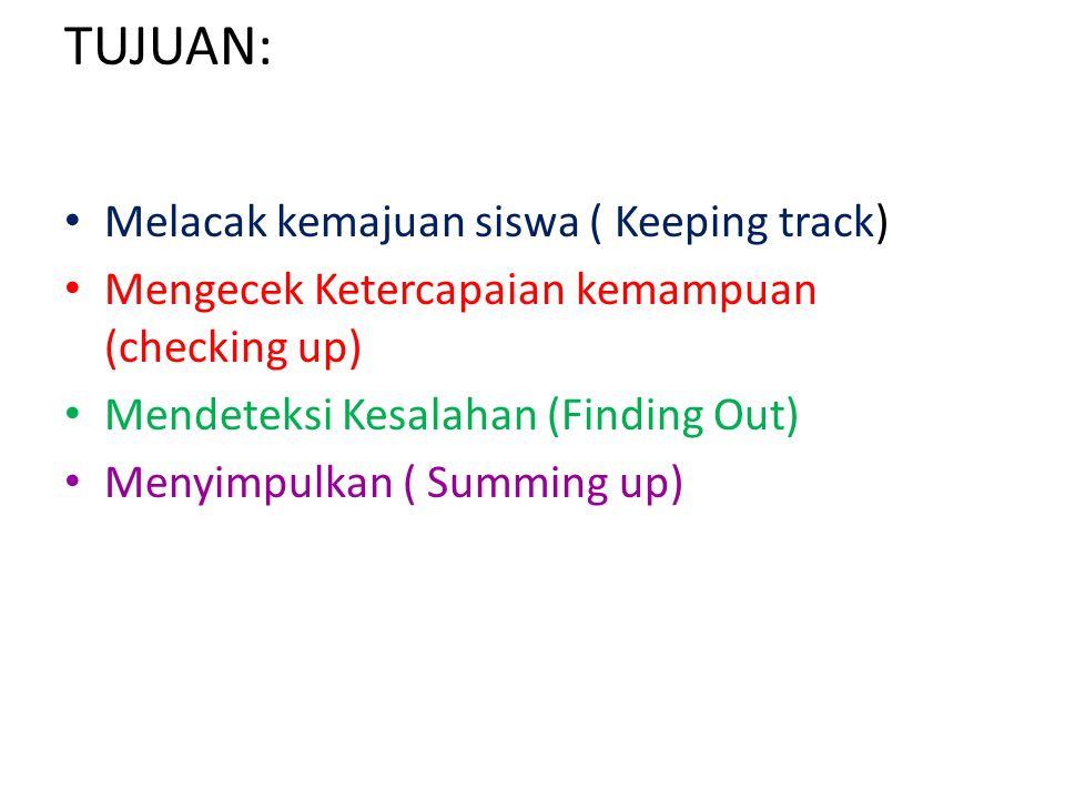 TUJUAN: Melacak kemajuan siswa ( Keeping track) Mengecek Ketercapaian kemampuan (checking up) Mendeteksi Kesalahan (Finding Out) Menyimpulkan ( Summing up)