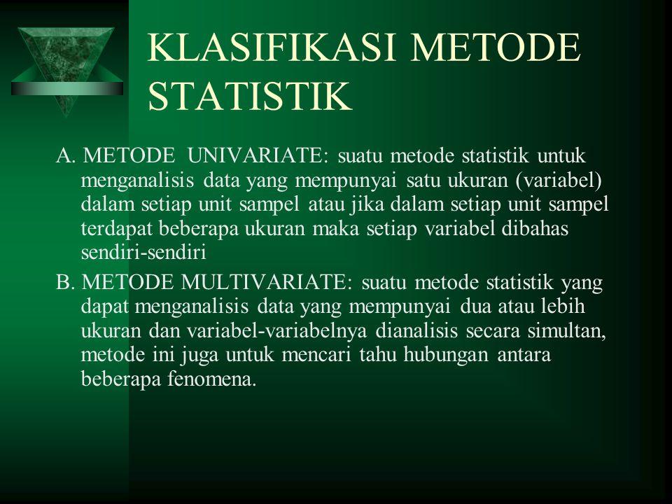 KLASIFIKASI METODE STATISTIK A.