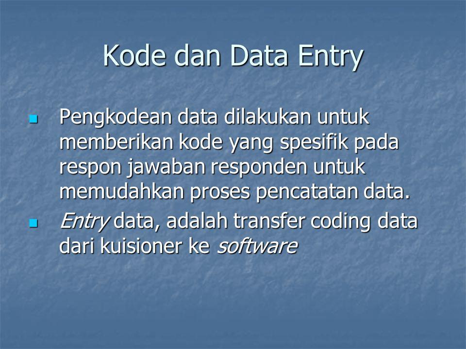 Kode dan Data Entry Pengkodean data dilakukan untuk memberikan kode yang spesifik pada respon jawaban responden untuk memudahkan proses pencatatan data.