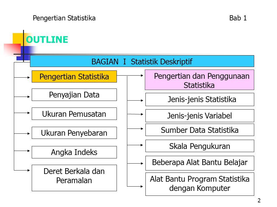2 OUTLINE Pengertian Statistika Bab 1 BAGIAN I Statistik Deskriptif Pengertian dan Penggunaan Statistika Jenis-jenis Statistika Jenis-jenis Variabel Sumber Data Statistika Skala Pengukuran Beberapa Alat Bantu Belajar Alat Bantu Program Statistika dengan Komputer Pengertian Statistika Penyajian Data Ukuran Penyebaran Ukuran Pemusatan Angka Indeks Deret Berkala dan Peramalan