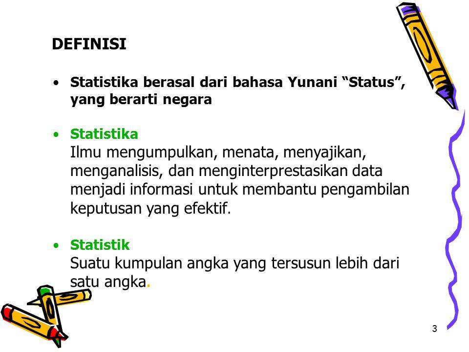 3 Statistika berasal dari bahasa Yunani Status , yang berarti negara Statistika Ilmu mengumpulkan, menata, menyajikan, menganalisis, dan menginterprestasikan data menjadi informasi untuk membantu pengambilan keputusan yang efektif.