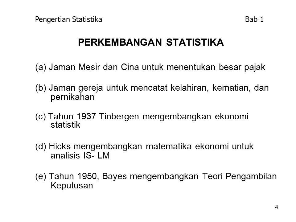4 PERKEMBANGAN STATISTIKA (a) Jaman Mesir dan Cina untuk menentukan besar pajak (b) Jaman gereja untuk mencatat kelahiran, kematian, dan pernikahan (c) Tahun 1937 Tinbergen mengembangkan ekonomi statistik (d) Hicks mengembangkan matematika ekonomi untuk analisis IS- LM (e) Tahun 1950, Bayes mengembangkan Teori Pengambilan Keputusan Pengertian Statistika Bab 1