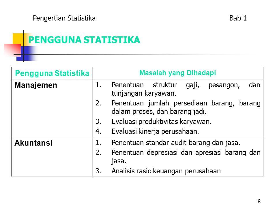 8 PENGGUNA STATISTIKA Pengguna Statistika Masalah yang Dihadapi Manajemen 1.Penentuan struktur gaji, pesangon, dan tunjangan karyawan.