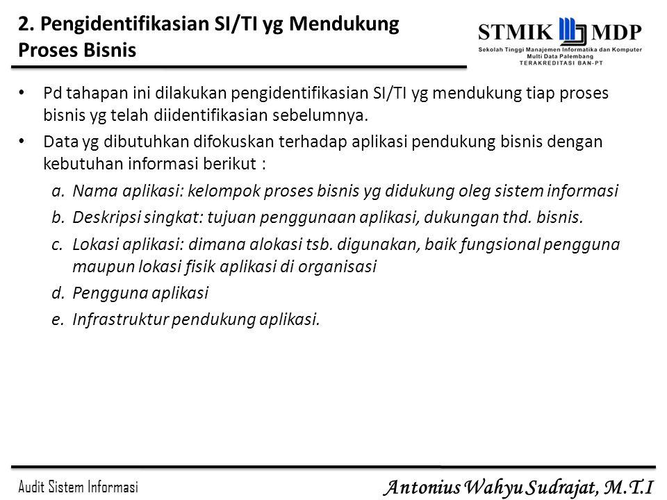 Audit Sistem Informasi Antonius Wahyu Sudrajat, M.T.I 2. Pengidentifikasian SI/TI yg Mendukung Proses Bisnis Pd tahapan ini dilakukan pengidentifikasi