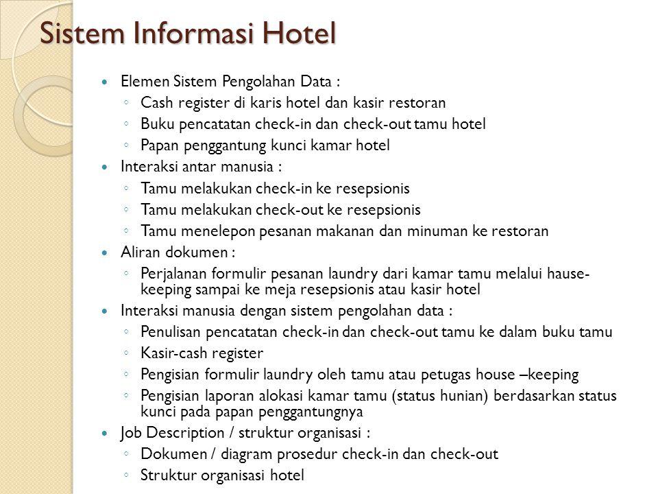 Sistem Informasi Hotel Elemen Sistem Pengolahan Data : ◦ Cash register di karis hotel dan kasir restoran ◦ Buku pencatatan check-in dan check-out tamu