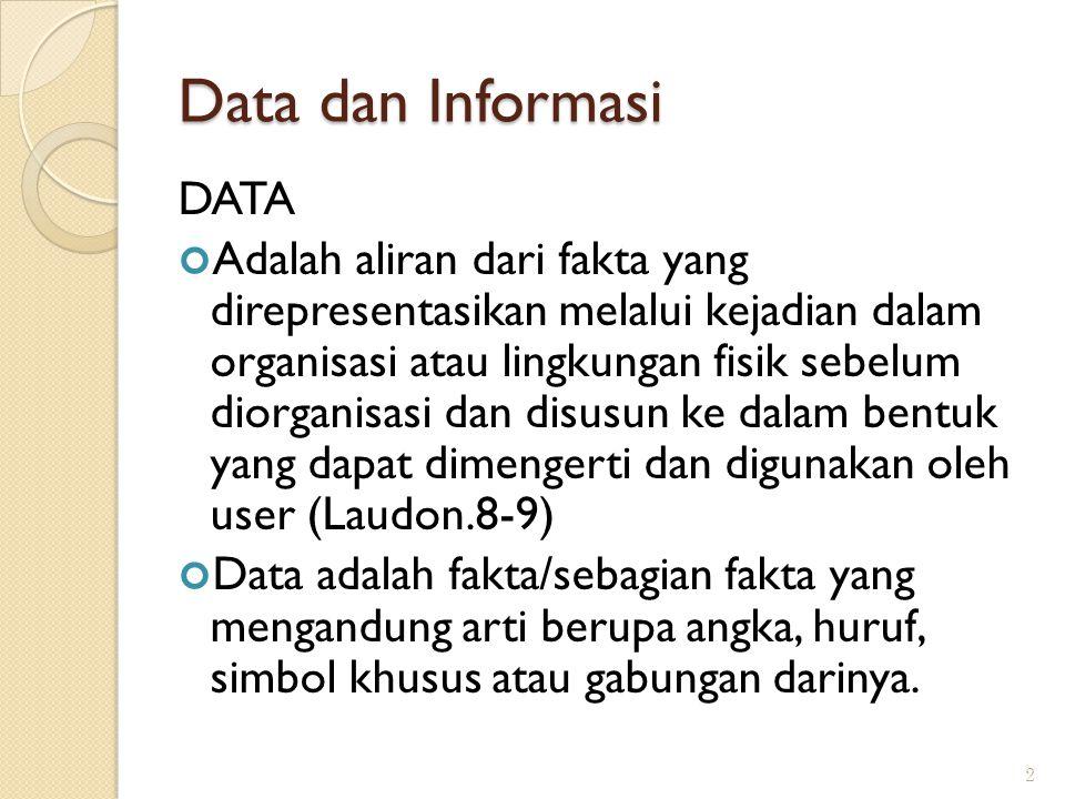 Data dan Informasi DATA Adalah aliran dari fakta yang direpresentasikan melalui kejadian dalam organisasi atau lingkungan fisik sebelum diorganisasi dan disusun ke dalam bentuk yang dapat dimengerti dan digunakan oleh user (Laudon.8-9) Data adalah fakta/sebagian fakta yang mengandung arti berupa angka, huruf, simbol khusus atau gabungan darinya.