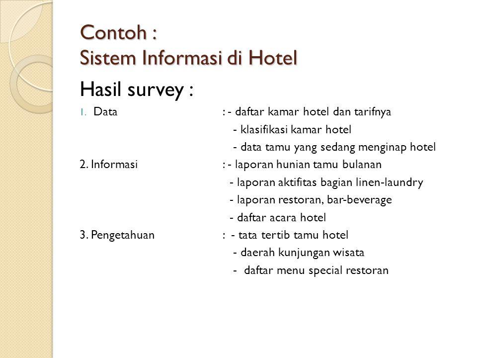 Contoh : Sistem Informasi di Hotel Hasil survey : 1. Data: - daftar kamar hotel dan tarifnya - klasifikasi kamar hotel - data tamu yang sedang mengina