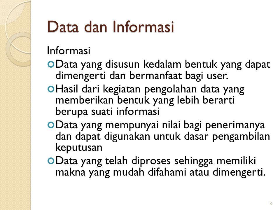 Data dan Informasi Informasi Data yang disusun kedalam bentuk yang dapat dimengerti dan bermanfaat bagi user. Hasil dari kegiatan pengolahan data yang