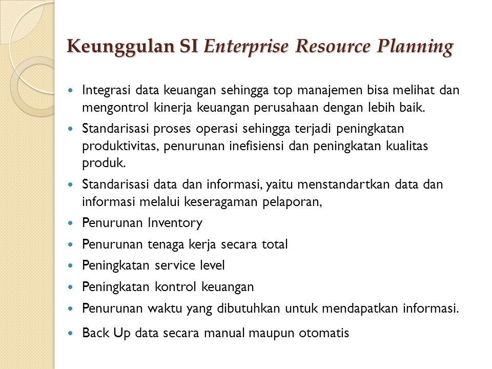 Keunggulan SI Enterprise Resource Planning Integrasi data keuangan sehingga top manajemen bisa melihat dan mengontrol kinerja keuangan perusahaan deng