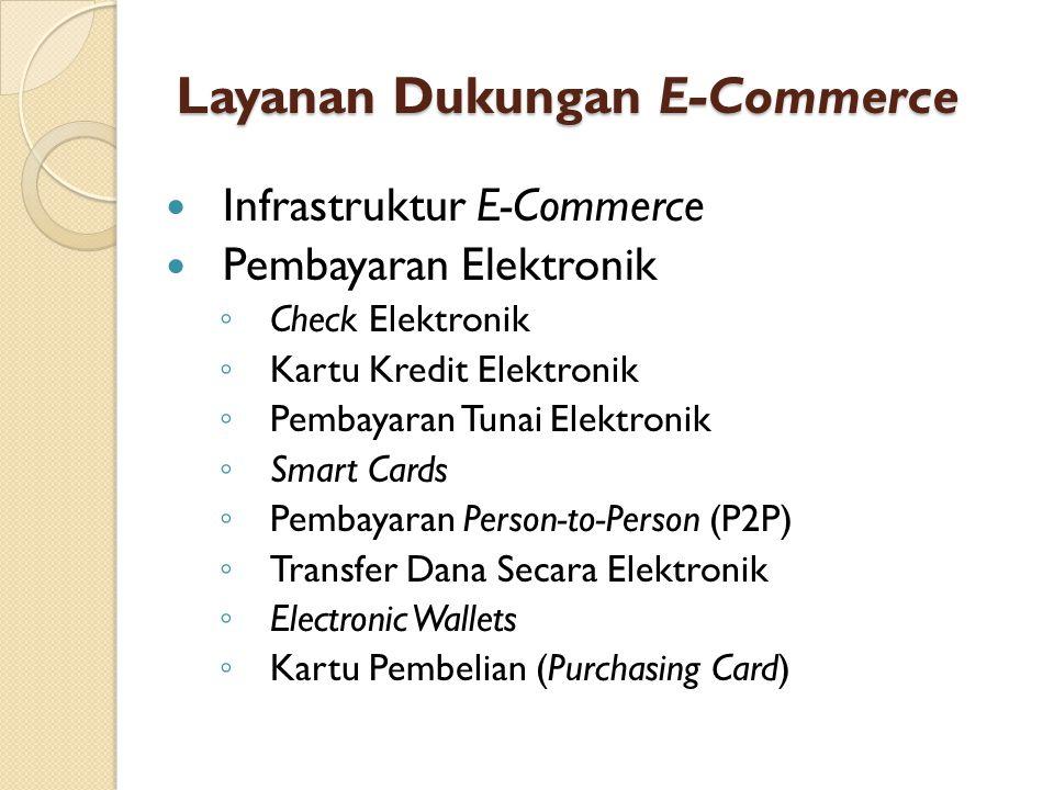 Layanan Dukungan E-Commerce Infrastruktur E-Commerce Pembayaran Elektronik ◦ Check Elektronik ◦ Kartu Kredit Elektronik ◦ Pembayaran Tunai Elektronik ◦ Smart Cards ◦ Pembayaran Person-to-Person (P2P) ◦ Transfer Dana Secara Elektronik ◦ Electronic Wallets ◦ Kartu Pembelian (Purchasing Card)