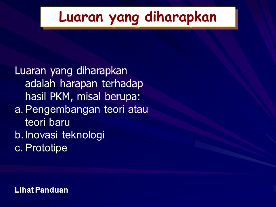Berikan pernyataan singkat mengenai tujuan kegiatan PKM.