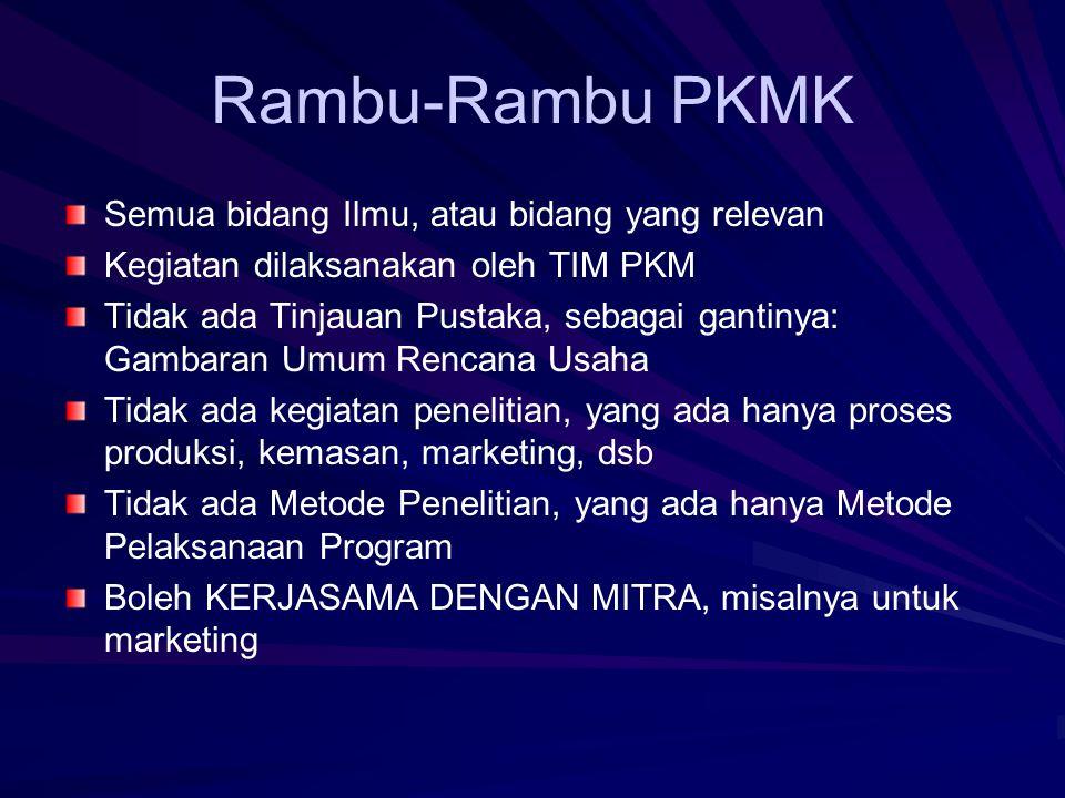 Rambu-Rambu PKMT Sesuai dengan bidang Ilmu, lintas bidang dianjurkan Ada Tinjauan Pustaka.