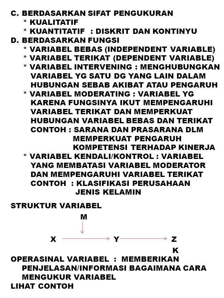 C.BERDASARKAN SIFAT PENGUKURAN * KUALITATIF * KUANTITATIF : DISKRIT DAN KONTINYU D.BERDASARKAN FUNGSI * VARIABEL BEBAS (INDEPENDENT VARIABLE) * VARIAB