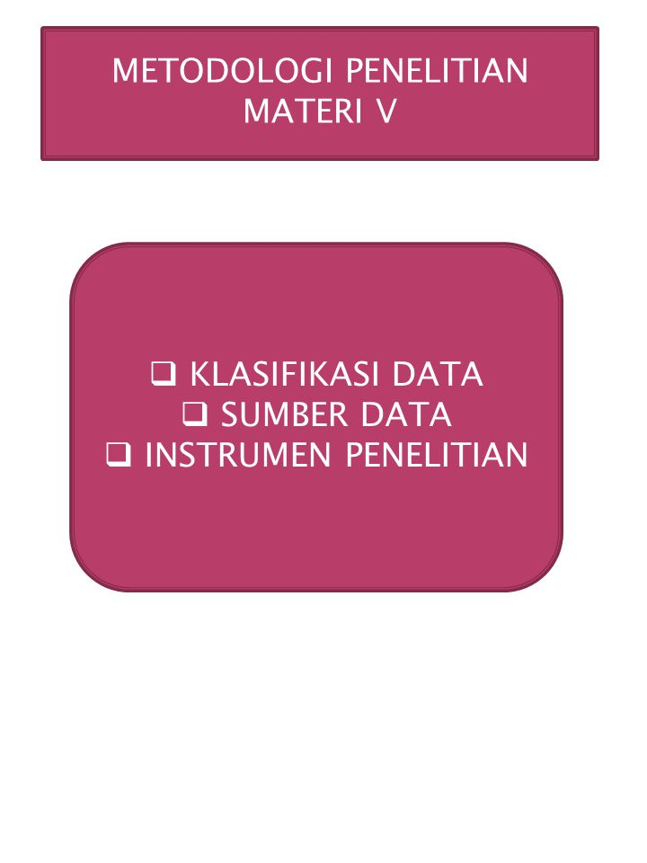 METODOLOGI PENELITIAN MATERI V  KLASIFIKASI DATA  SUMBER DATA  INSTRUMEN PENELITIAN