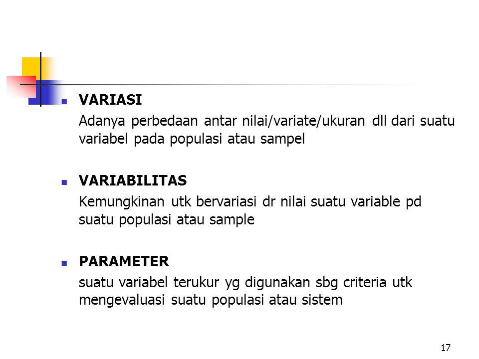 VARIASI Adanya perbedaan antar nilai/variate/ukuran dll dari suatu variabel pada populasi atau sampel VARIABILITAS Kemungkinan utk bervariasi dr nilai